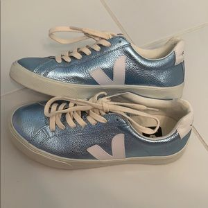 Light Blue and White Veja Sneakers